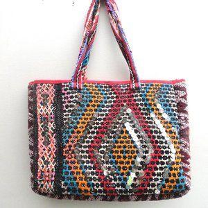 Boho Kilim Purse   Ethnic woven Bag   Metallic